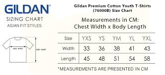 Gildan Youth Size Chart Gildan Premium Cotton Youth T Shirts 76000b
