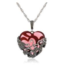 sterling silver oxidized marcasite and gemstone colored glass filigree heart pendant necklace