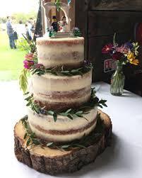 Semi Naked Wedding Cake Decorated With Fresh Greenery Catherine