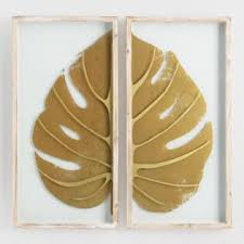 gold leaf on glass diptych shadowbox wall art set of 2 on gold leaf feather wall art with decorative glass wall art world market