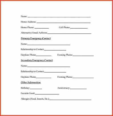 emergency contact template emergency contact form template efficiencyexperts us