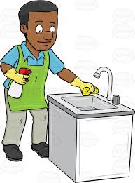 a black man polishing the kitchen sink cartoon clipart