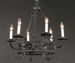 pair of italian round wrought iron chandeliers