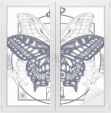 Motýl Tetování Umění Symbol Magie Renesance Esoterický Cestování Duše Motýl V Mystickém Kruhu Designu Trička