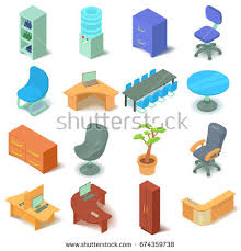 isometric office furniture vector collection. Office Furniture Icons Set. Isometric Illustration Of 16 Vector For Web Collection U