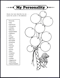 a worksheet from one and only me lifebook an exercise in self evaluation and personality