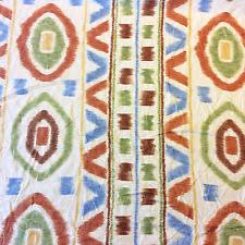 Orange Aqua Ikat Upholstery Fabric By The Yard  Contemporary Aqua Ikat Home Decor