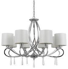 60w e12 bolsena chandelier chrome finish white shade