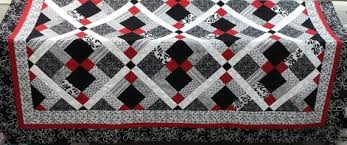Queen Size Quilt Patterns Classy Queen Size Quilt Pattern Red Black And White Quilt Etsy