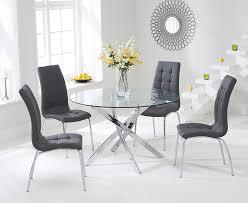 mark harris daytona glass round dining set with 2 california grey chairs 110cm