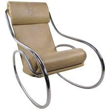 mid century modern tubular chrome rocking chair
