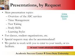 academic success center  iowa state university academic success  academic success center  iowa state university presentations by request main presentation topics