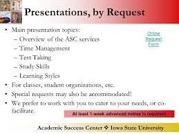 academic success center  iowa state university academic success  academic success center  iowa state university presentations by request main presentation topics