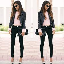 black black coat black leather jacket biker jacket faux leather leather black jeans skinny jeans metallic metallic shoes silver pink baby pink