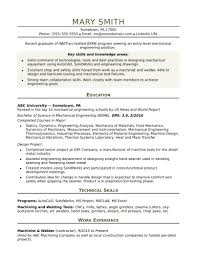 Template Sample Resume For An Entry Level Mechanical Engineer