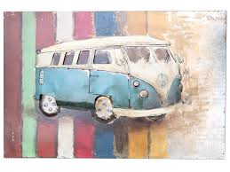 retro campervan metal wall art