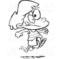 Small Picture Vector of a Cartoon Girl Running Track Coloring Page Outline by