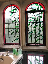 cover stained glass regans panels x3 bathroom closeup