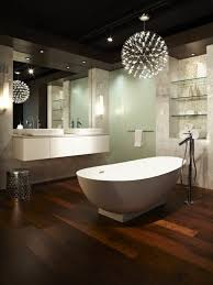 modern bathroom where there is a tub area you can also use a modern chandelier if so you are not only lighting up the tub area but also creating a relaxing