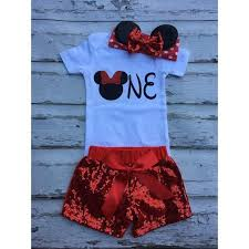 Red Minnie Mouse Mouse Birthday Outfit Onesie Minnie Headband Sequin