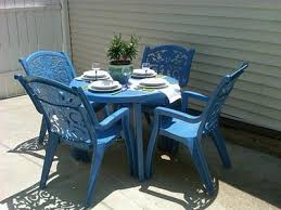 plastic patio furniture. Spray Paint Old Ugly Plastic Patio Furniture! I Did This Today, And Now Have A Beautiful Turquoise Set :) Furniture