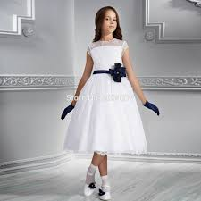 online get cheap pageant interview suits aliexpress com alibaba blue and white flower girl dresses girls pageant interview suits kids evening gown lace prom short