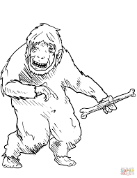 Small Picture Yeti with Bone coloring page Free Printable Coloring Pages