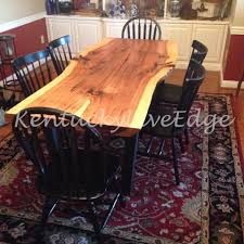 industrial dining room table and chairs. Custom Made Industrial Dining Table Live Edge Hickory Slab Room And Chairs
