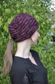 Knit Hat With Ponytail Hole Pattern