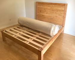 simple wood bed frame diy bed frame and wood headboard a piece of rainbow