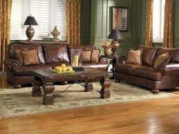 image of brown furniture with green painted walls