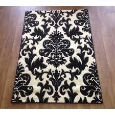 black and cream damask area rug