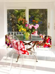 clear folding chairs dining room contemporary with bold color bright color image by tara seawright
