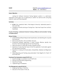 Resume Format For Software Testing Fresher