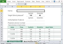 Blood Pressure Tracking Spreadsheet Free Blood Pressure Tracker Template For Excel Word