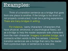 writing transitions examples think of a transition
