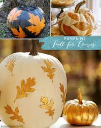 paint a pumpkin with leaf stencil patterns