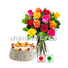 Happy Birthday Cake And Flower Wishes Buy Mix Roses Online Best