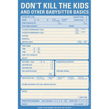 babysitter information sheet printable babysitter checklist notepad in notepads and pens