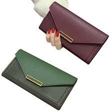 <b>Women's Wallet Korean Fashion</b> Long Buckle Purses Retro Thin ...