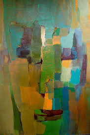 a modern abstract painting of a woman face signed irene moss feminists are movement