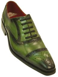 fiesso mens green black grant leather fashion perforated lace up dress shoe fiesso