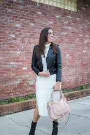 maje leather moto jacket and anthropologie sweater dress