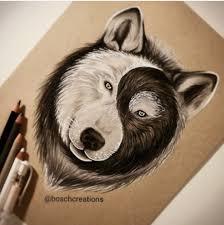 Wolf Yin And Yang Vlci Kresby Tetování A Obrázky