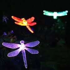 dragonfly garden stakes. Solar Color-Changing Dragonfly Garden Stake Light Stakes
