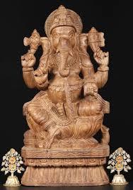 sold wooden ganesha statue 24