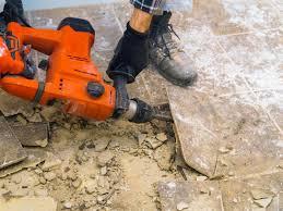 hirepool removing floor tiles