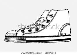 hanging converse shoes drawing. hand drawn sketch of sport shoes, sneakers for summer. vector stock illustration. hanging converse shoes drawing