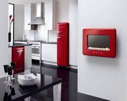 White Kitchen Red Accessories Interior Design
