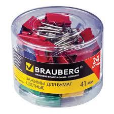 <b>Зажимы для бумаг Brauberg</b> 41 мм, 24 шт/уп, на 200 л, цветные, в ...